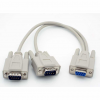 DB9 Serial Y-Cable, 2 Male To 1 Female