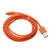 Καλώδιο Braided Φόρτισης και Μεταφοράς Δεδομένων USB σε Micro USB - 1.2m Πορτοκαλί