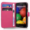 Motorola Moto E Dual SIM XT1022 - Δερμάτινη Θήκη Πορτοφόλι Φούξια (ΟΕΜ)