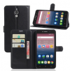 """Δερμάτινη Θήκη Πορτοφόλι Με Πίσω Κάλυμμα Σιλικόνης για Alcatel Pixi 4 (6"""") 3G 8050D, 8050E Μαύρο (ΟΕΜ)"""