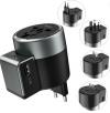 Hoco AC4 Φορτιστης Ταξιδιου για ολες τις χωρες US EU AU UK με 2 USB Θυρες γρήγορης Φόρτισης  με περιστροφη Μαύρο