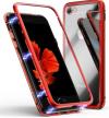 Mαγνητική Μεταλλική θήκη, τζαμι στην πλατη μονο για Iphone 7 / 8  Κοκκινο (OEM)