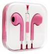 Ρόζ - Ακουστικά με μικρόφωνο handsfree earpods και volume για iPhone , Samsung Galaxy, Sony Xperia και άλλα smartphones (OEM)