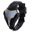 MAIKOU W01 Μοδάτο Ψηφιακό Ρολόϊ Χειρός με Μπλέ LED και Λουρί Σιλικόνης Μαύρο/Ασημί (BULK)