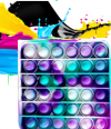 Pop It Παιχνίδι  ΑντιΣτρες - Bubble νερομπογιες χρωματισμος τετραγωνο (oem)(bulk)