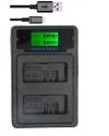 USB Φορτιστής μπαταρίας LPE5 LP-E5 LP E5 +TYPE-C Dual Charger για Canon 450D 500D 1000D Kiss X2 X3 F Rebel XSi Xli XS L15 camera (OEM)