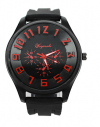 Men's Round Sports Watch with Red Numbers and Black Silicone Band (OEM) (BULK)