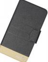 Δερμάτινη Θήκη Πορτοφόλι για TP-LINK Neffos X1 MAX  Μαυρη Mε χρυσο τελειωμα (BULK) (OEM)