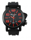 Men's Round Sports Watch with Red Big Numbers and Black Silicone Band (OEM) (BULK)