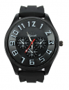 Men's Round Sports Watch with White Numbers and Black Silicone Band (OEM) (BULK)