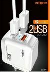 Φορτιστής Moxom με 2 θήρες Usb και καλώδιο micro usb Λευκό (KH-70Y)