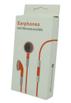 Πορτοκαλί Stereo Earphones and MIC Handsfree με ένταση για iPhone 3GS & 4 / 4S (OEM)