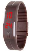 LED Pολόι Σιλικόνης Βραχιολάκι Unisex Καφέ (OEM)