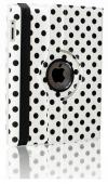 ipad air 2013/ipad 5 Περιστρεφόμενη δερμάτινη θήκη 360 Άσπρη Με Μαύρες Βούλες