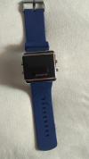 LED Pολόι Ορθογώνιο Σιλικόνης Βραχιολάκι Unisex Μπλε (OEM)