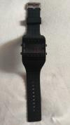 LED Pολόι Ορθογώνιο Σιλικόνης Βραχιολάκι Unisex Μαύρο (OEM)