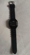 LED Pολόι HeiQi Ορθογώνιο Σιλικόνης Βραχιολάκι Unisex Μαύρο (OEM)