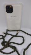 """Θήκη Σιλικόνης TPU με Πράσινο Σκούρο Neck Cord για Iphone 11 Pro  5.8"""" - Διάφανη (ΟΕΜ)"""