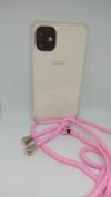 """Θήκη Σιλικόνης TPU με Ροζ Neck Cord για Iphone 11 6.1"""" - Διάφανη (ΟΕΜ)"""