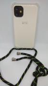"""Θήκη Σιλικόνης TPU με Μαύρο/Πράσινο Neck Cord για Iphone 11 6.1"""" - Διάφανη (ΟΕΜ)"""