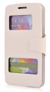Δερμάτινη Stand Θήκη/S-View για Alcatel OneTouch Scribe Easy 8000D Λευκή (OEM)