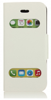 iPhone 5C Caller ID Leather Stand Case - White OEM