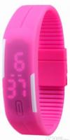 LED Pολόι Σιλικόνης Βραχιολάκι Unisex Φουξια (OEM)