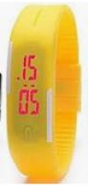 LED Pολόι Σιλικόνης Βραχιολάκι Unisex Κιτρινο (OEM)