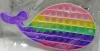 Pop It Παιχνίδι  ΑντιΣτρες - Bubble ουρανιο-τοξο παστελ χρωματα Φαλαινα (oem)(bulk)