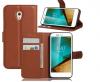 Δερμάτινη Θήκη Πορτοφόλι Με Πίσω Πλαστικό Κάλυμμα Vodafone Smart Prime 7 VFD600 καφε  (ΟΕΜ)
