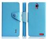 Δερμάτινη Θήκη/Πορτοφόλι για Alcatel One Touch Idol X (OT-6040D) Γαλάζιο (ΟΕΜ)