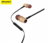 Awei ES80TY Wooden Dynamic Earphones In Ear Stereo Subwoofer Bass Headphones with MIC Black-Black