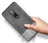 Θήκη Σιλικόνης Ultra-Thin TPu Μαυρη Gel και υφασμα γκρι για OnePlus 7 Pro  (oem)