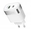 Φορτιστής Ταξιδίου Hoco C58A Prominent USB & Type-C Fast Charging PD & QC3.0 5V/3.0A 18W Λευκός με Intelligent Balance
