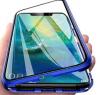 Mαγνητική Μεταλλική θήκη, τζαμι στην προσοψη κ πλατη  για Xiaomi Redmi Note 8 Pro Μπλε (OEM)