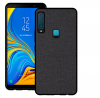Σκληρή Θήκη σιλικόνης TPU Μαύρη με υφασματινη υφή  για Samsung A7 2018 (ΟΕΜ)