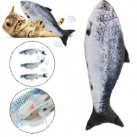 Fashion-Realistic Salmon Cat Toy Simulation Electric Doll Fish Funny Interactive Pets Chew Bite Supplies for Cat Kitty Kitten Fi