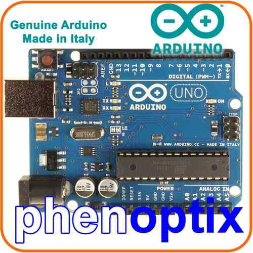 Arduino uno r official board rev sense and control leds