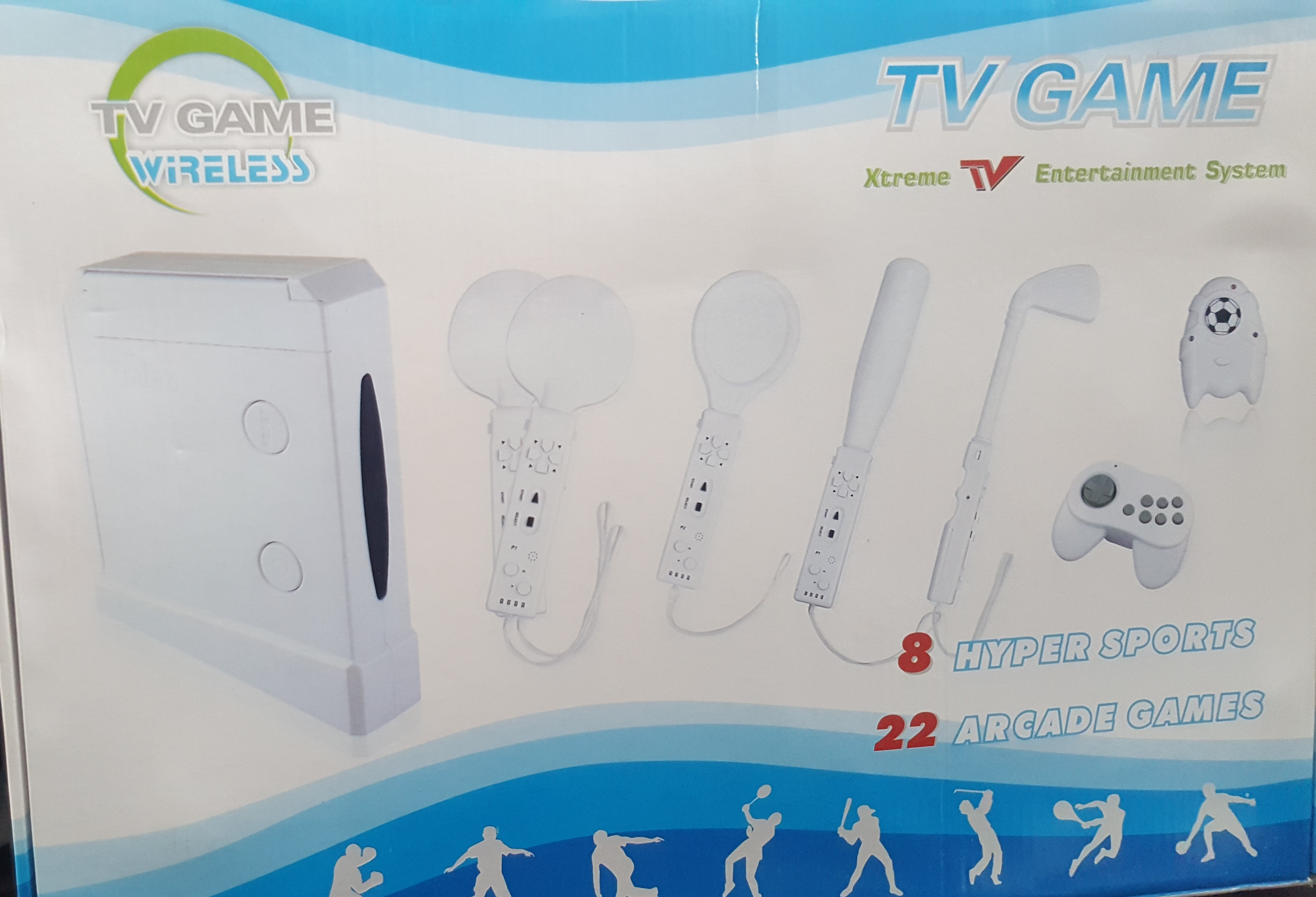 CONSOLE GAMING WIRELESS TV GAME 1 ME 8 GAMES AND SPORTS 22 ARCADE AND  CONTROLS FOR EVERY SPORT